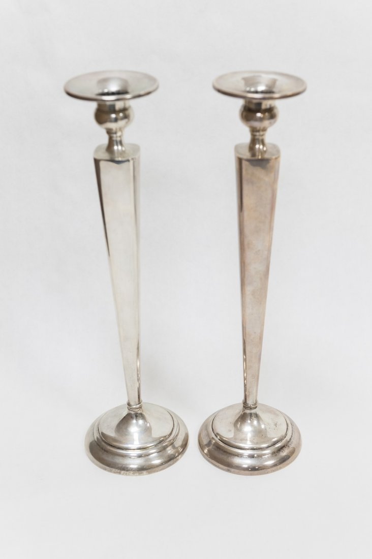 Pair of W. Elfers Sterling Silver Weighted Candlesticks