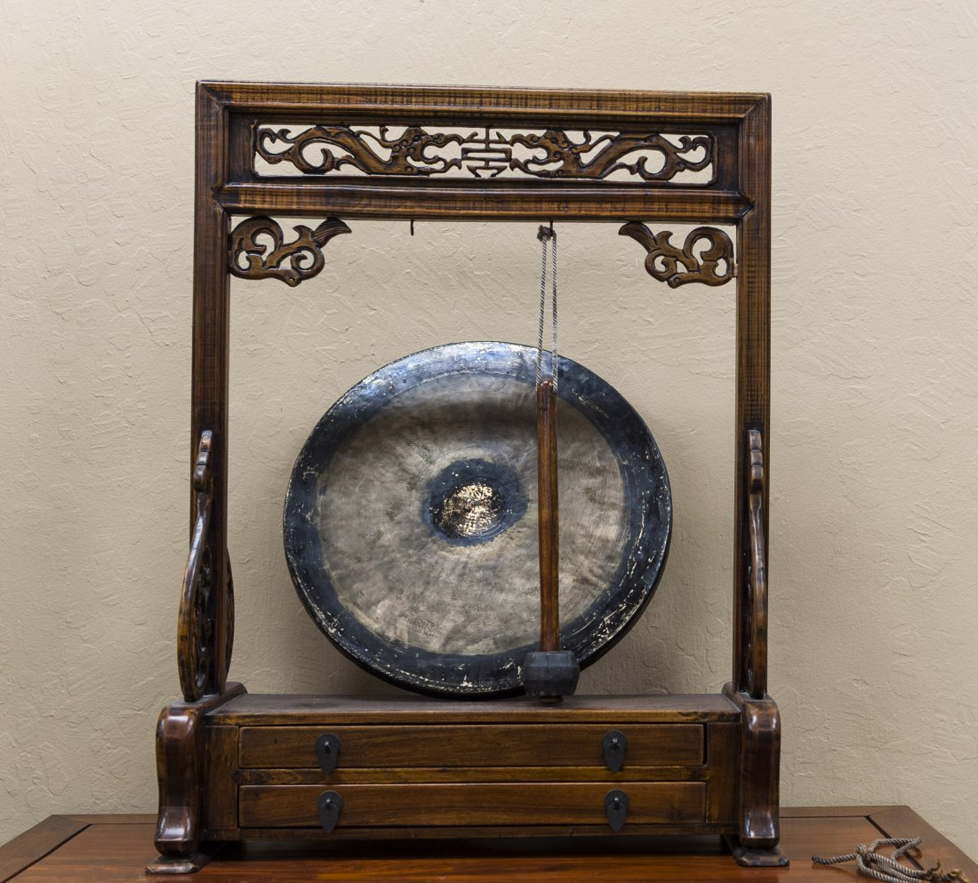 Chinese Table Gong in a Wooden 2-drawer Stand.