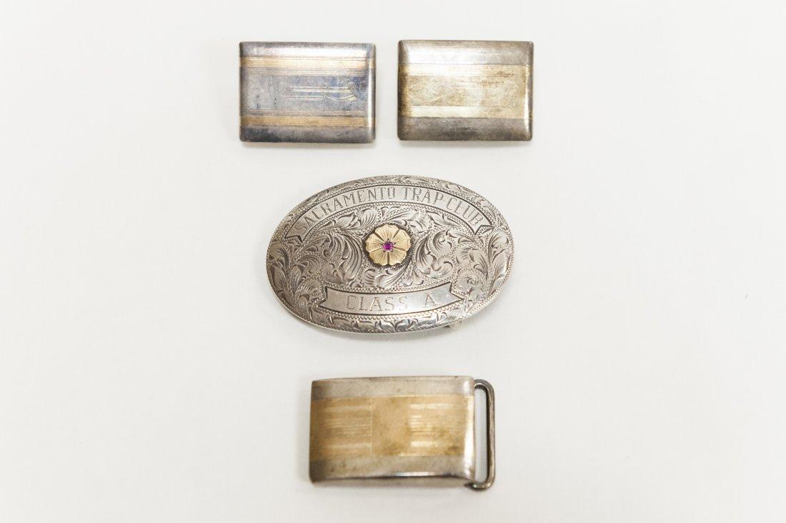 (4) Sterling and 10K Belt Buckles.