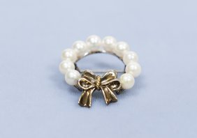 Tiffany & Co. 18K, Sterling and Pearl Brooch.