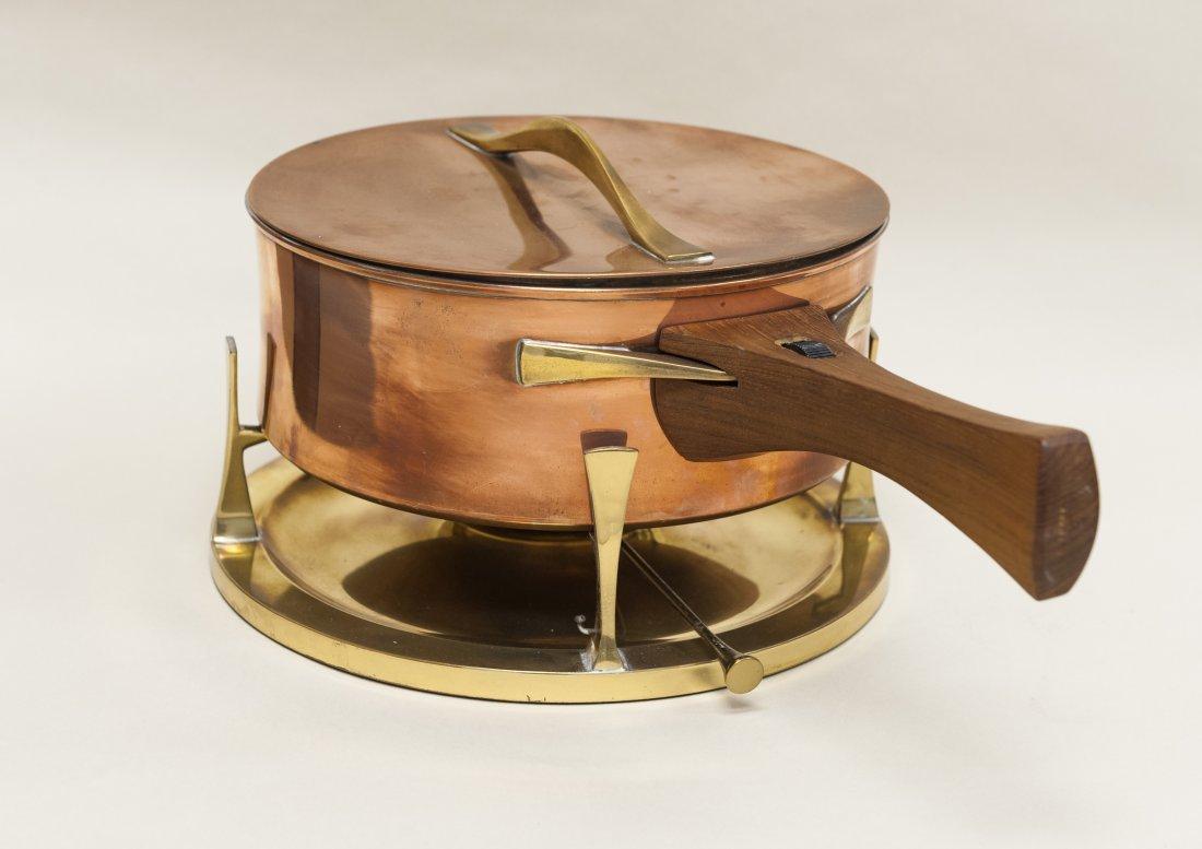 Dansk copper and brass chafing dish / fondue pot.