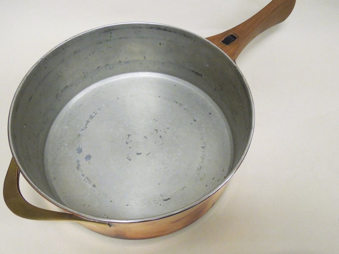 Dansk copper and brass chafing dish / fondue pot. - 5