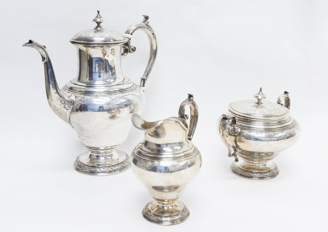 "Towle Sterling ""Old Brocade"" 3-pc Coffee Set."