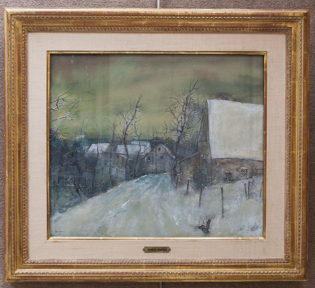 Bernard Gantner Watercolor, Winter Scene.