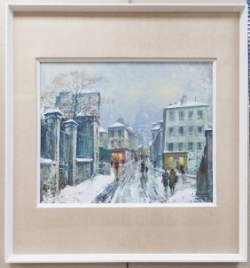 Jean Salabet, Oil on Canvas, Paris in Winter.