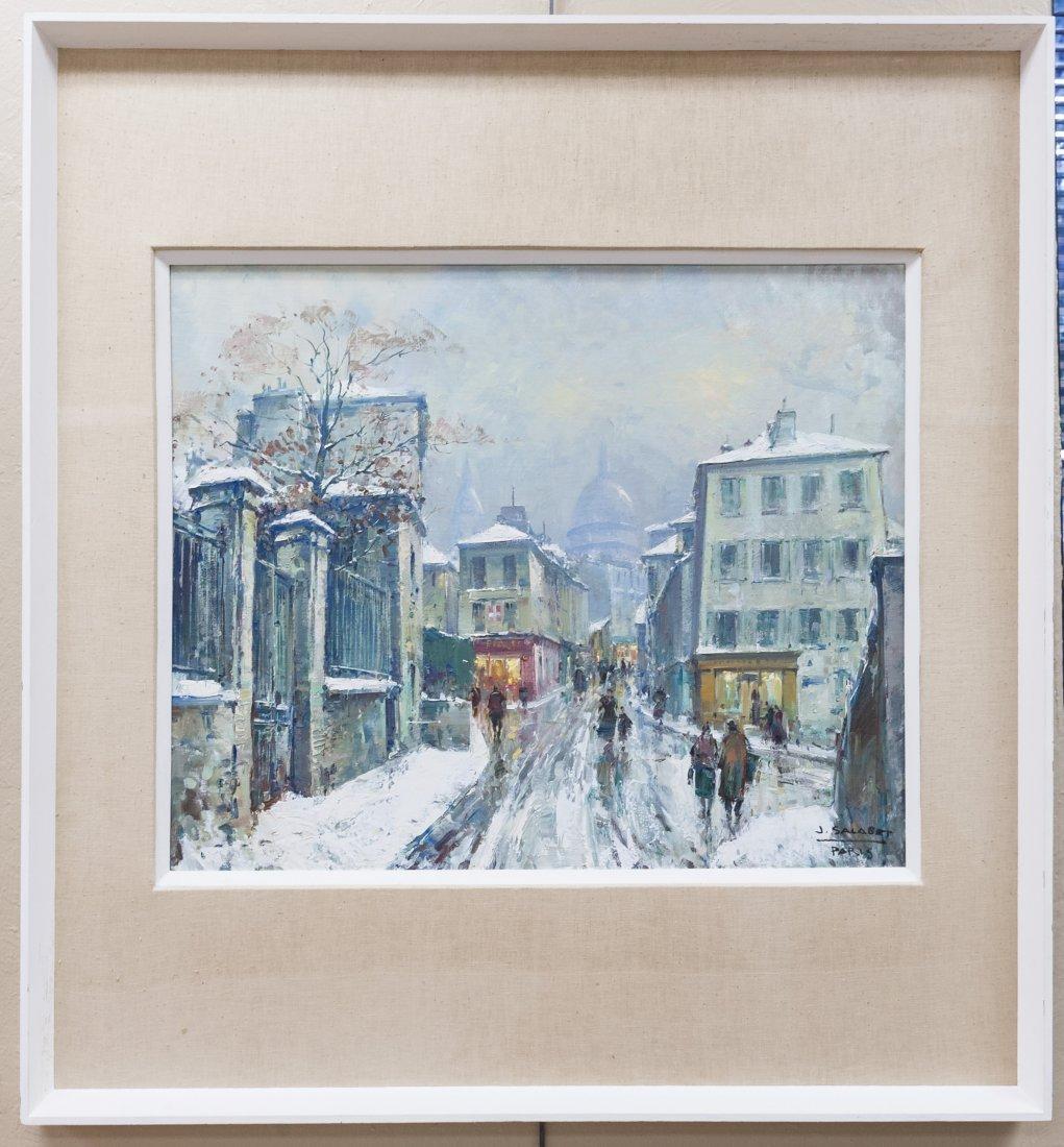 Jean Salabet, Oil on Canvas, Paris in Winter.