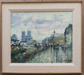 Jean Salabet, Oil on Board, Paris Street Scene.