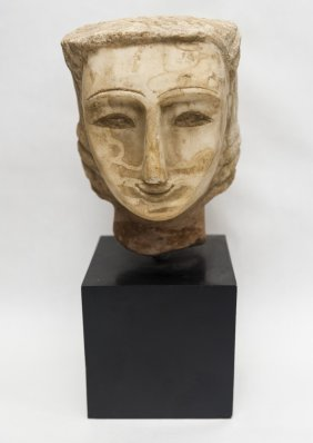 Gandharan carved schist stone head.