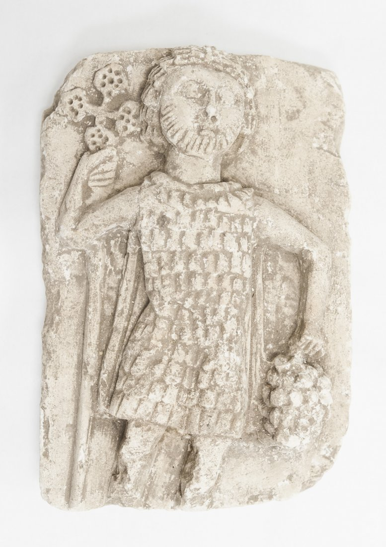 Cast Stone high relief tablet with crusader figure.