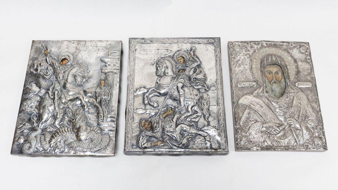(3) Greek Icons. St. George, St. Demetrius & St.
