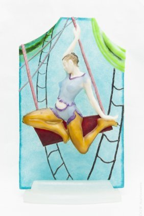 Glass Relief Panel, Trapeze Artist.