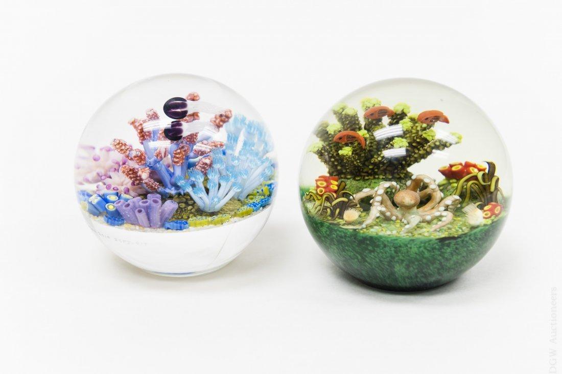 (2) Cathy Richardson Art Glass Paperweights.