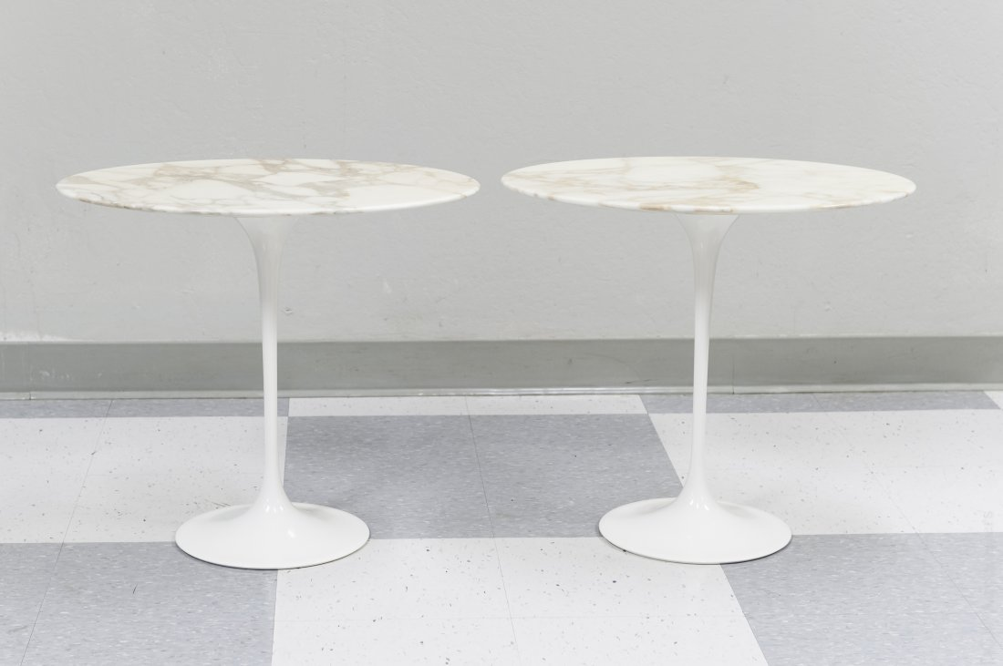 (2) Eero Saarinen Knoll Studios Marble Top Tables.