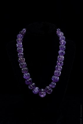 Vintage Amethyst Beaded Necklace W/ Gold Box Clasp.