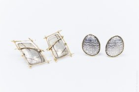 (2) Pairs Of Designer Gold And Silver Earrings.