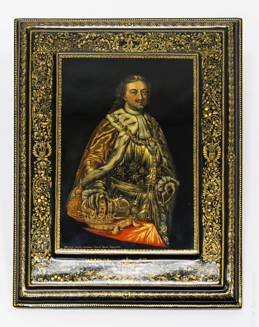 Melnikova Portrait of Peter the Great on Lacquer Panel.