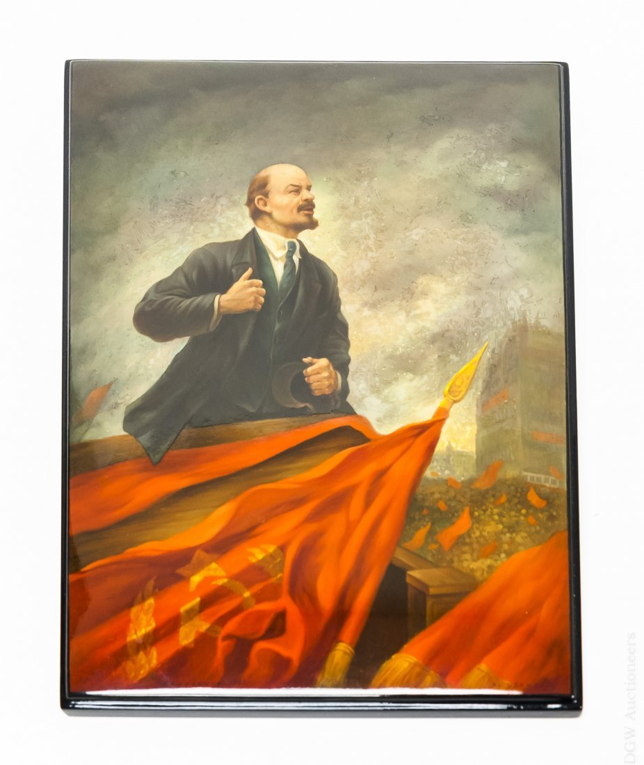 Fedoskino Portrait of Lenin on Lacquer Panel.
