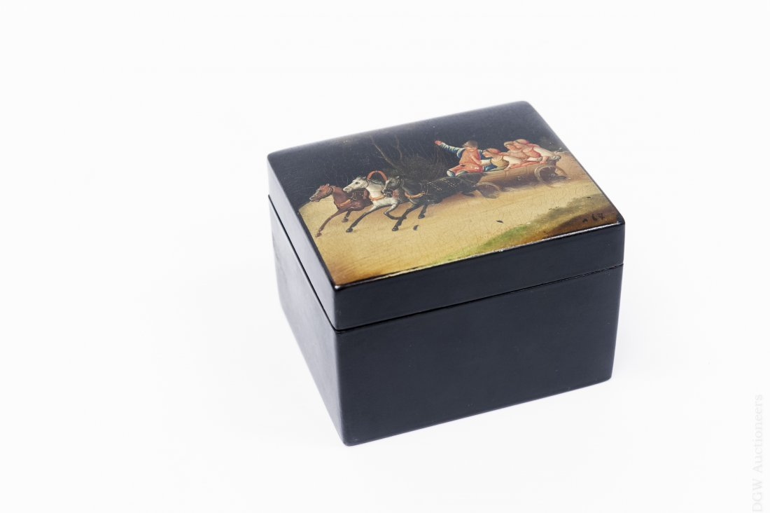 Early 20th C. Fedoskino Russian Lacquer Box.