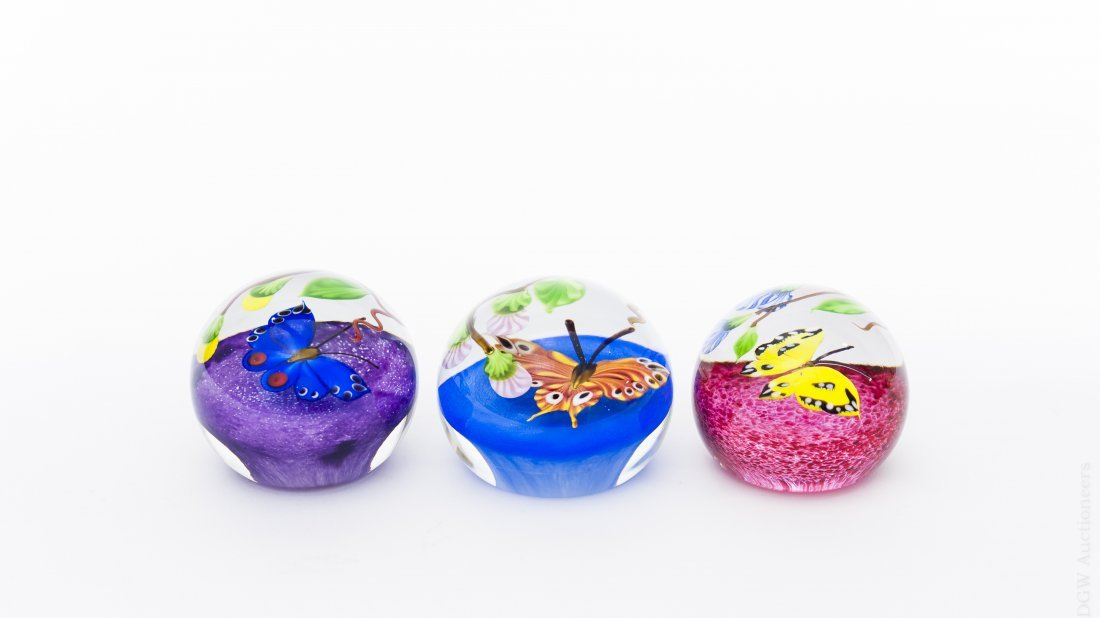 (3) Mayauel Ward Art Glass Butterfly Paperweights.