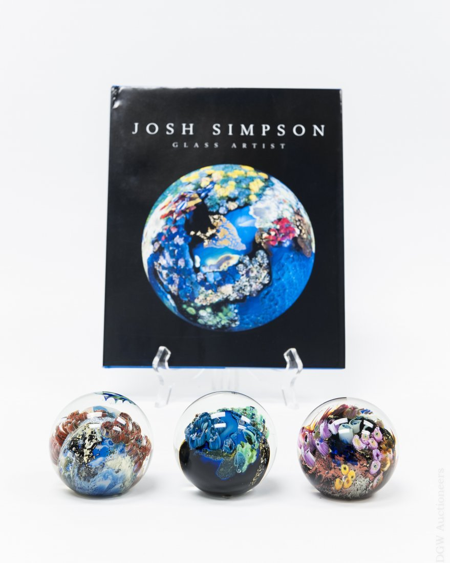(3) Josh Simpson Paperweights and a Book.