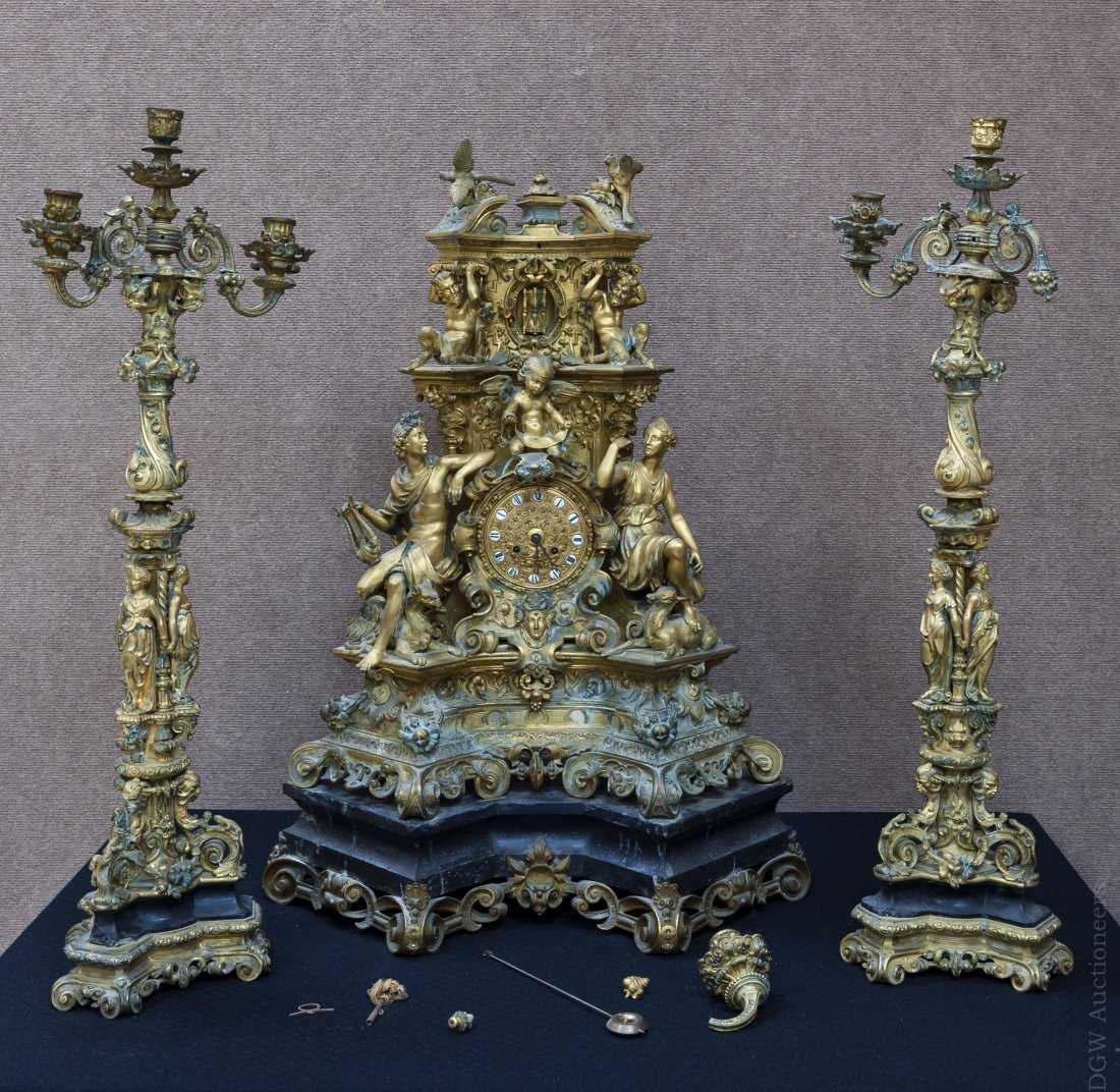 Continental Gilt Bronze Garniture Suite.