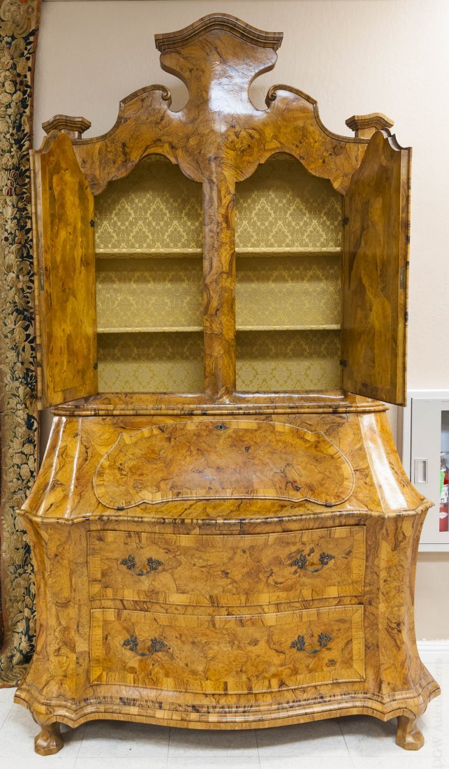 Dutch Baroque Style Secretary Bookcase.