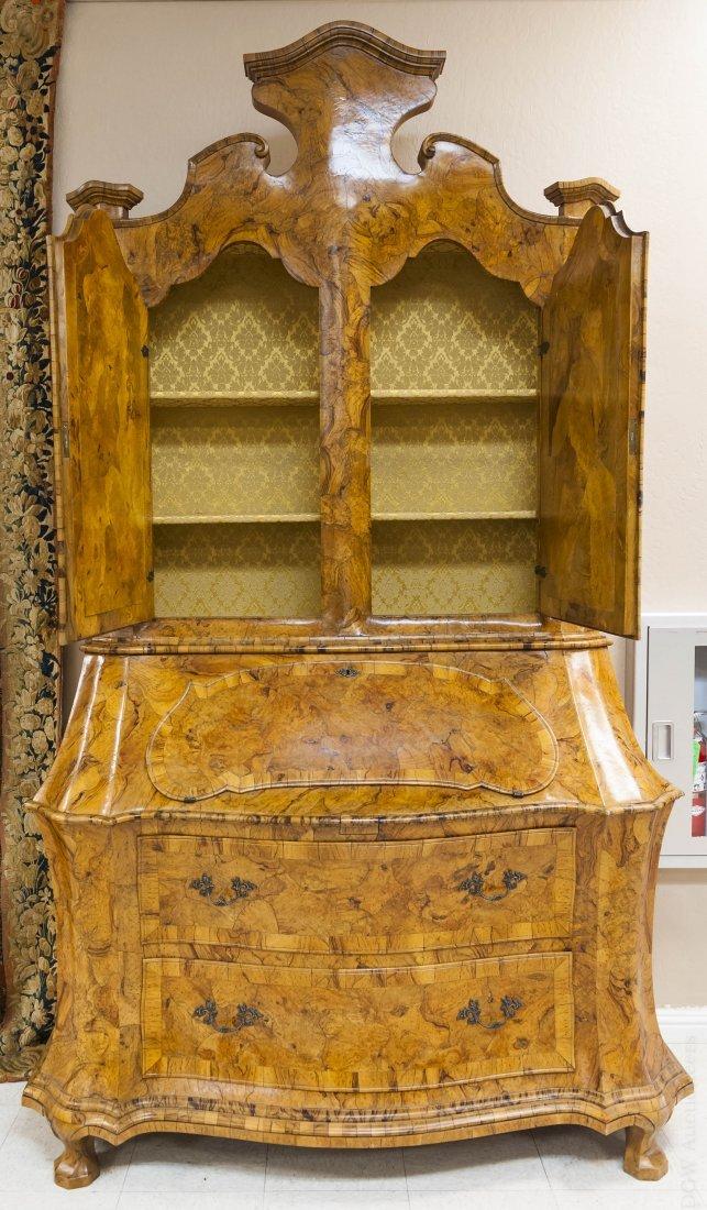 Dutch Baroque Style Secretary Bookcase.