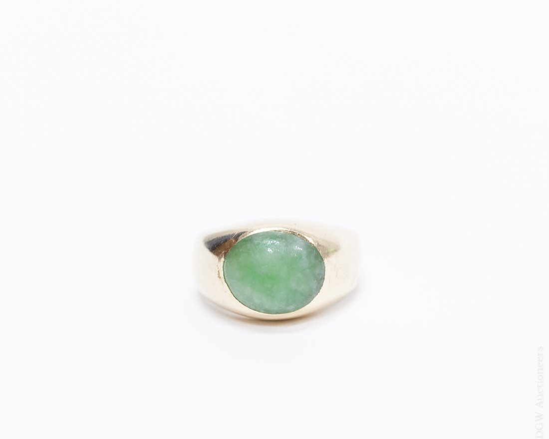 14K Yellow Gold Band with Green Oval Cabochons.