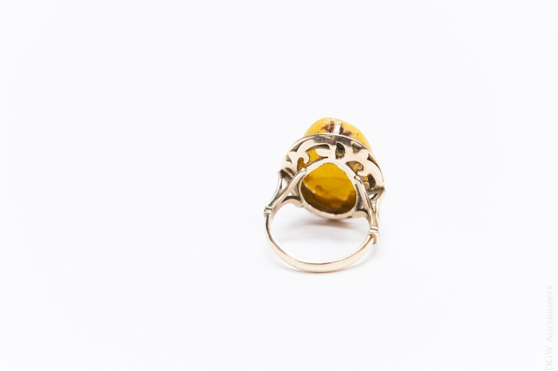 Egyptian Gold and Amber Ring. - 4