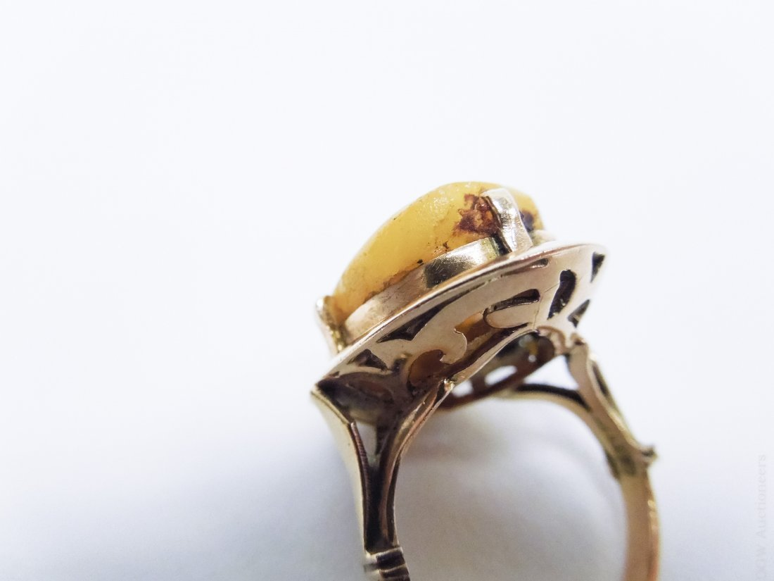 Egyptian Gold and Amber Ring. - 6