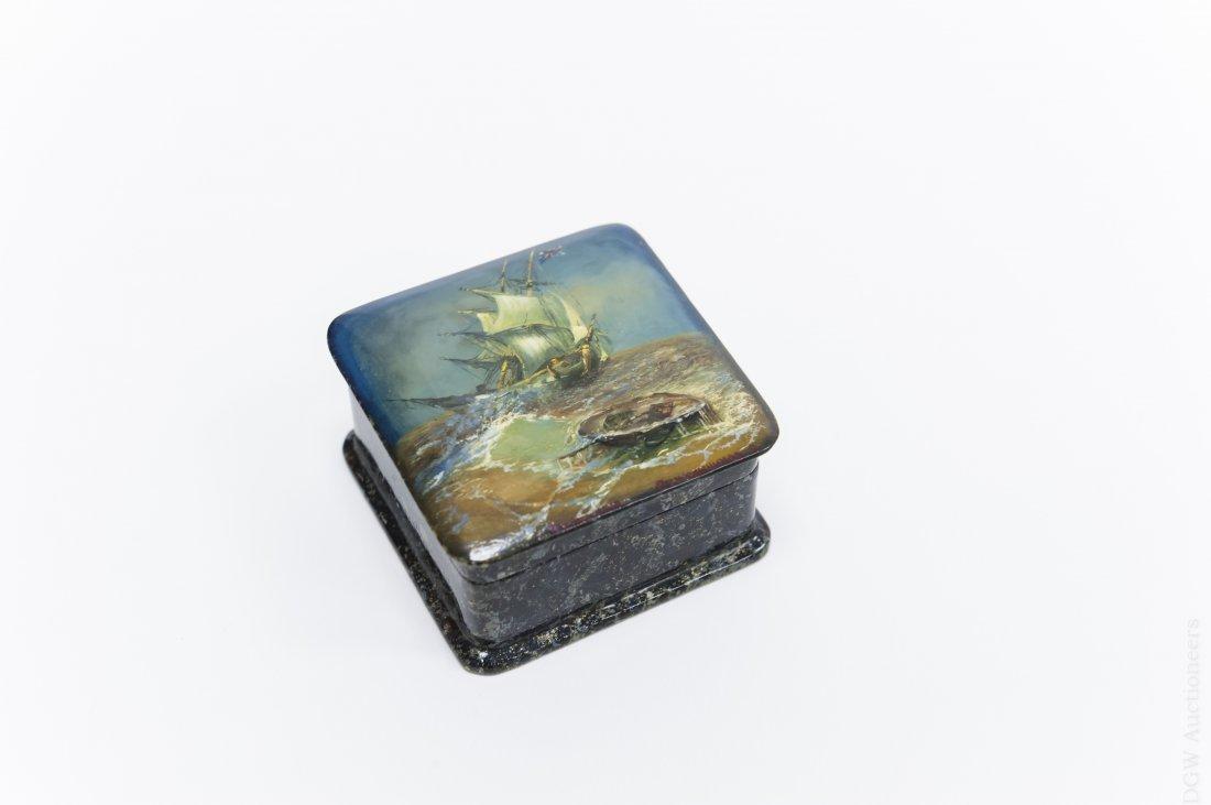 Fedoskino Russian Lacquer Box, Shipwreck.