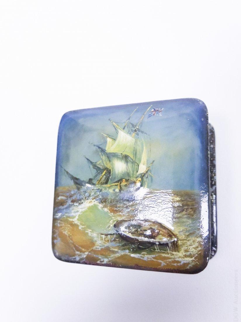 Fedoskino Russian Lacquer Box, Shipwreck. - 5