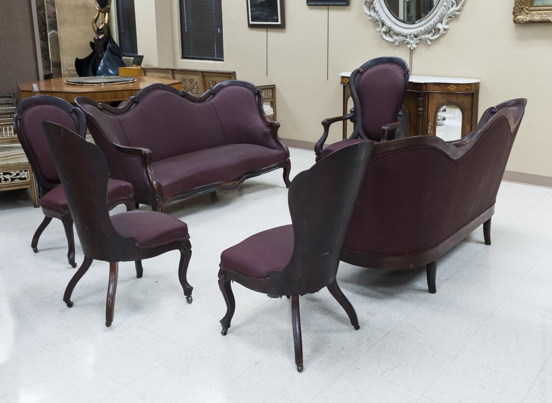American Rococo Revival Rosewood Parlor Suite.