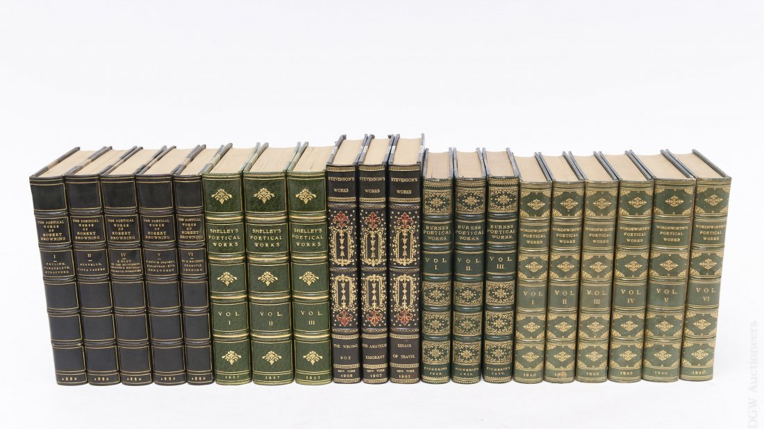 (5) Sets of Leather Bound Poetry Books.
