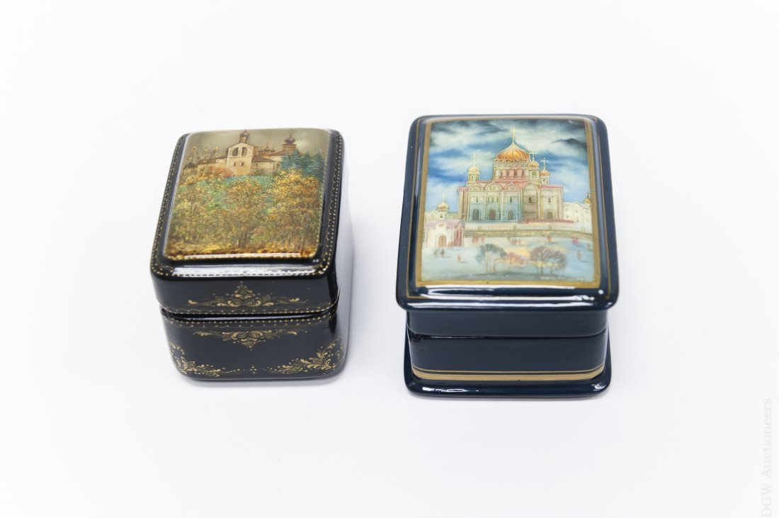 (2) Fedoskino Russian Lacquer Boxes.