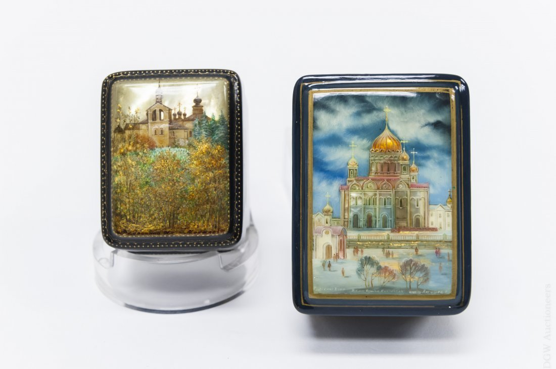(2) Fedoskino Russian Lacquer Boxes. - 2