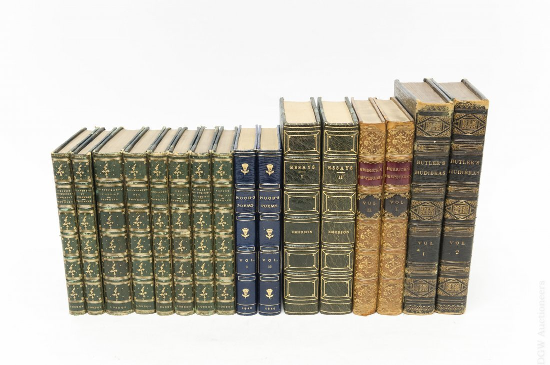 (16) Antiquarian Books, Leather and Cloth Boards.