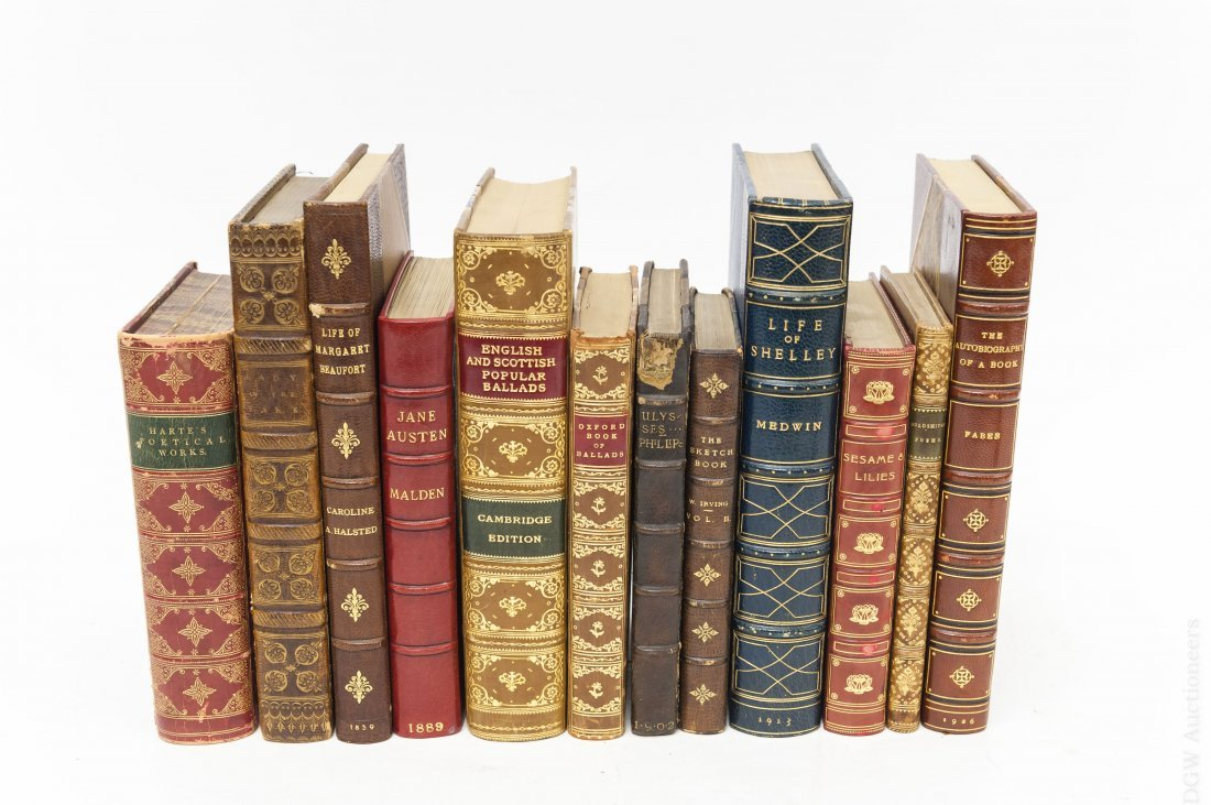 (12) Antiquarian Books, Leather and Cloth Boards.