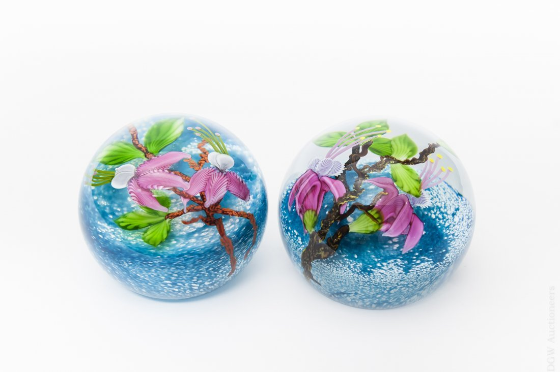(2) Mayauel Ward Art Glass Paperweights.