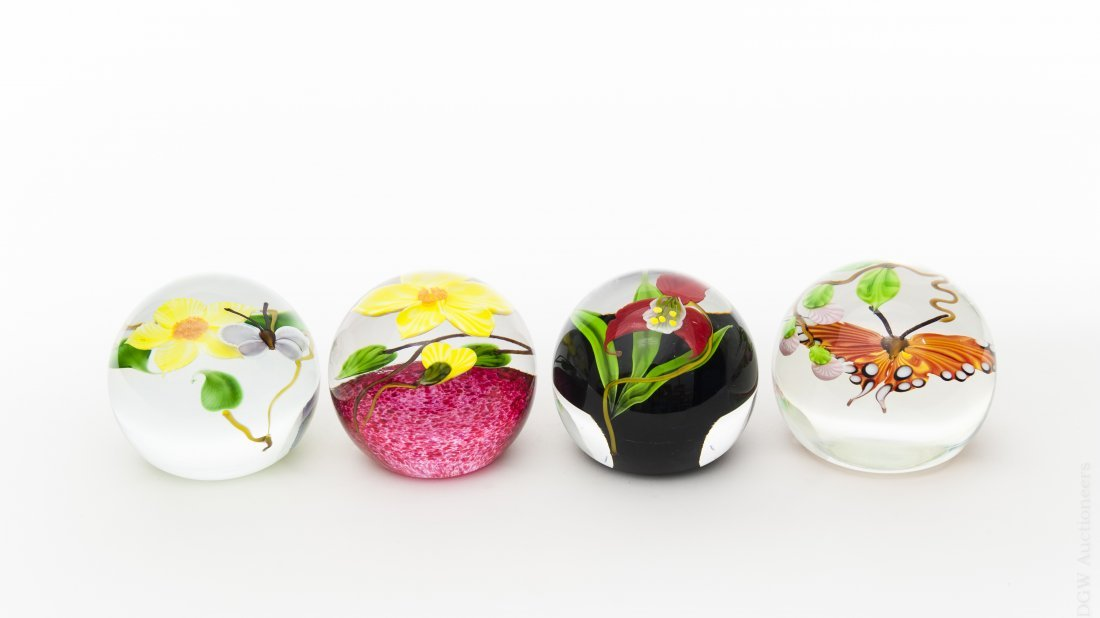 (4) Mayauel Ward Art Glass Paperweights.