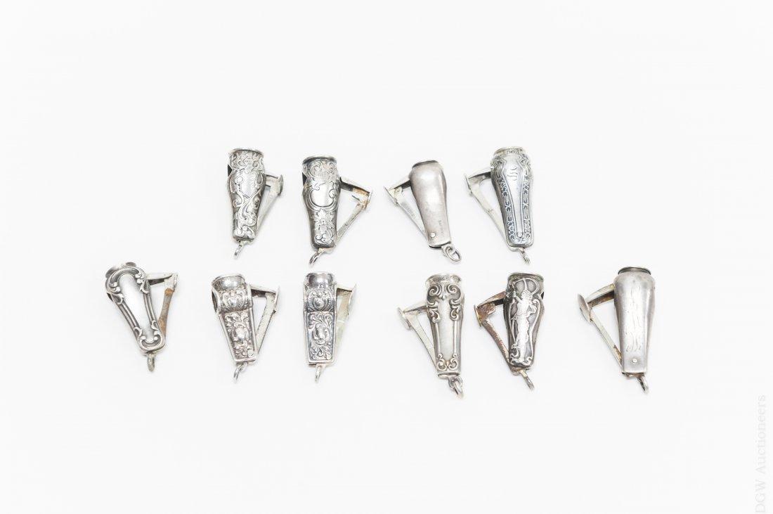(10) Vintage Sterling Silver Cigar Cutters. - 2