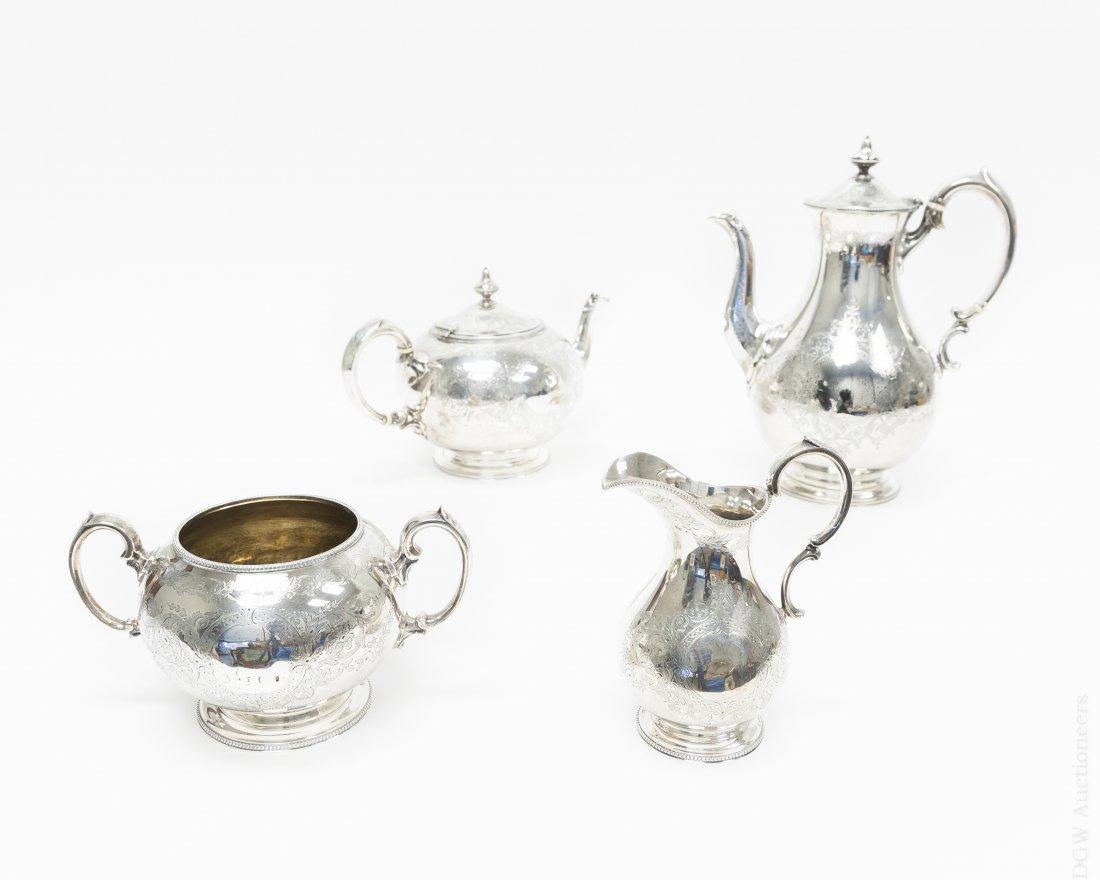 English Sterling Silver 4-pc Coffee & Tea Set.