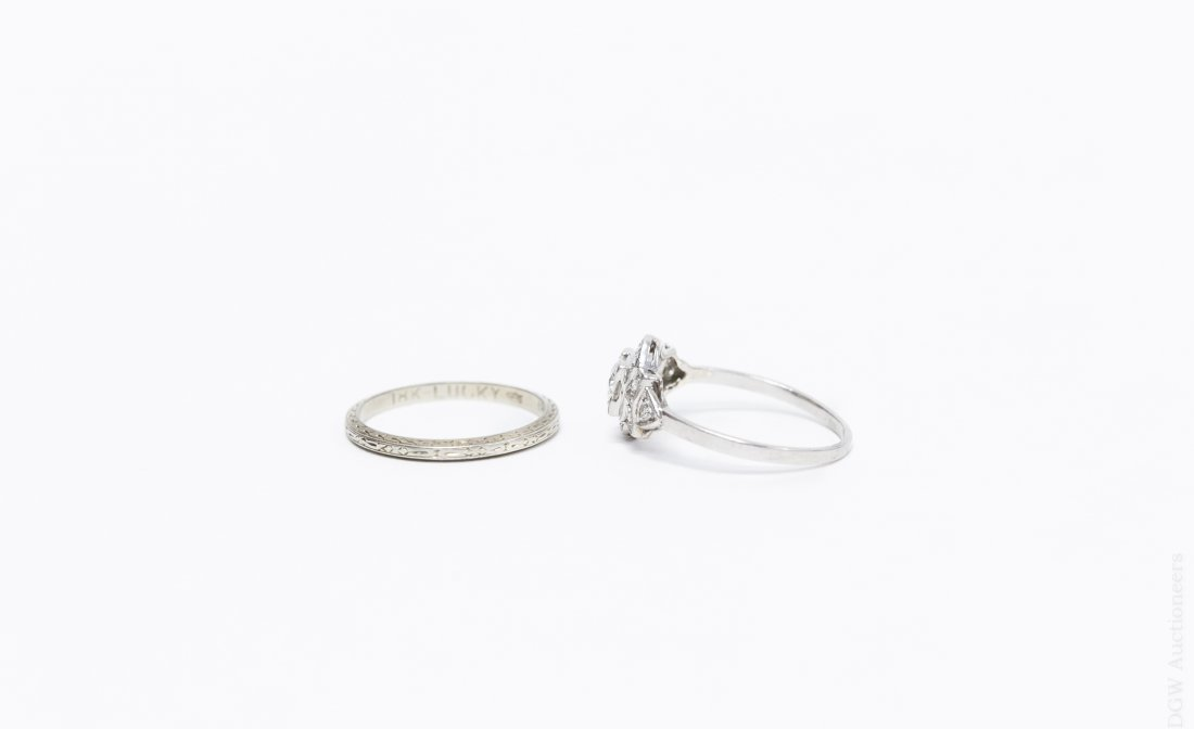 Vintage Platinum and Diamond Ring and Band. - 2