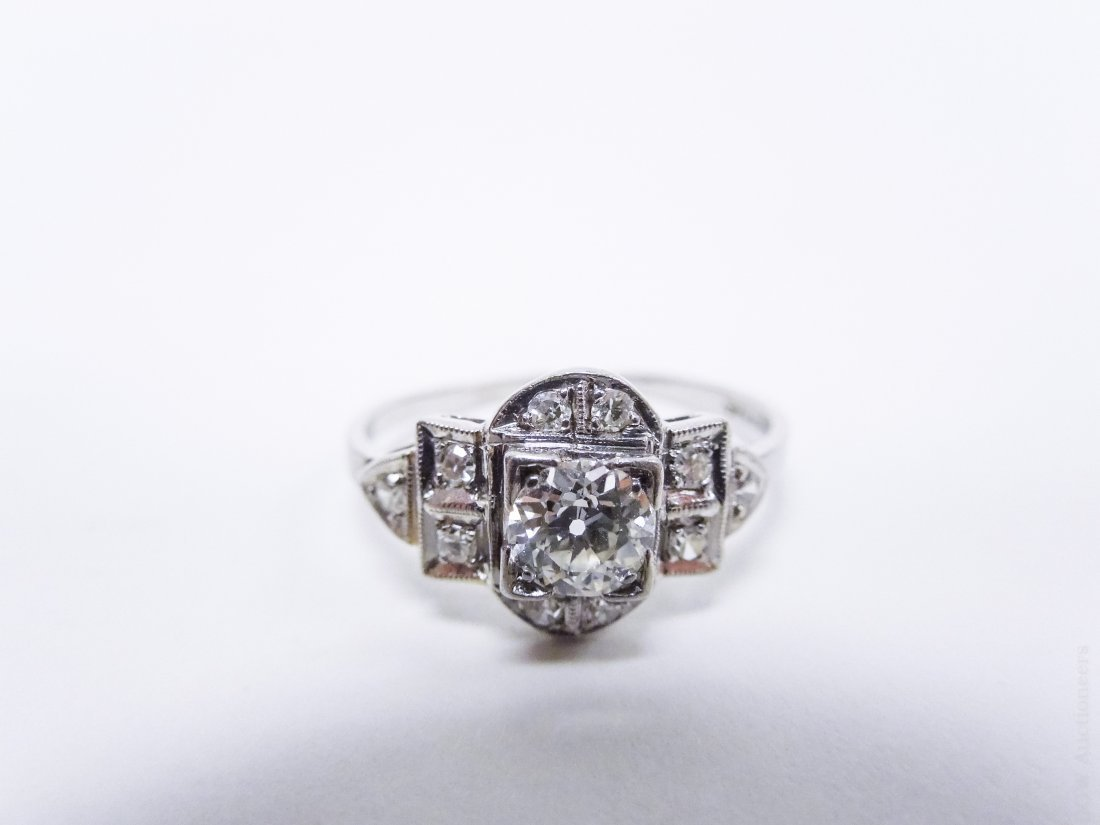 Vintage Platinum and Diamond Ring and Band. - 4