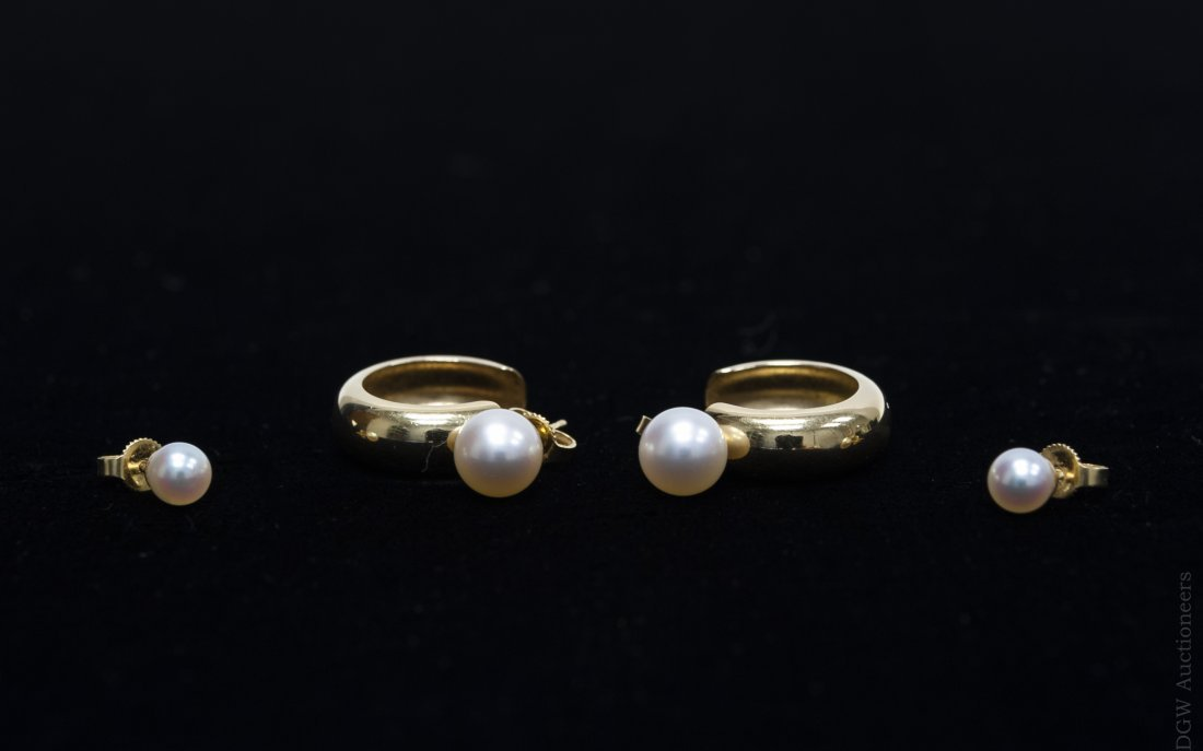 Two pairs of Mikimoto Pearl Earrings.