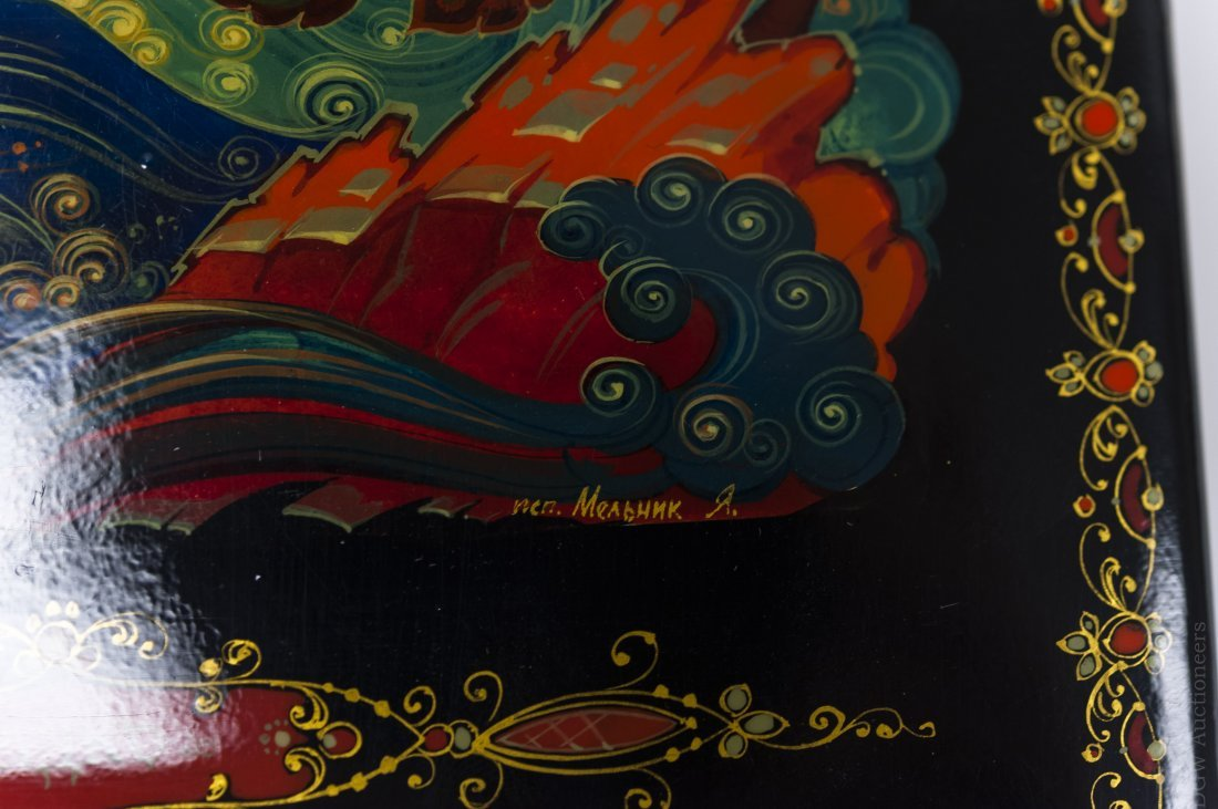 Kholui Russian Lacquer Box, signed. - 7