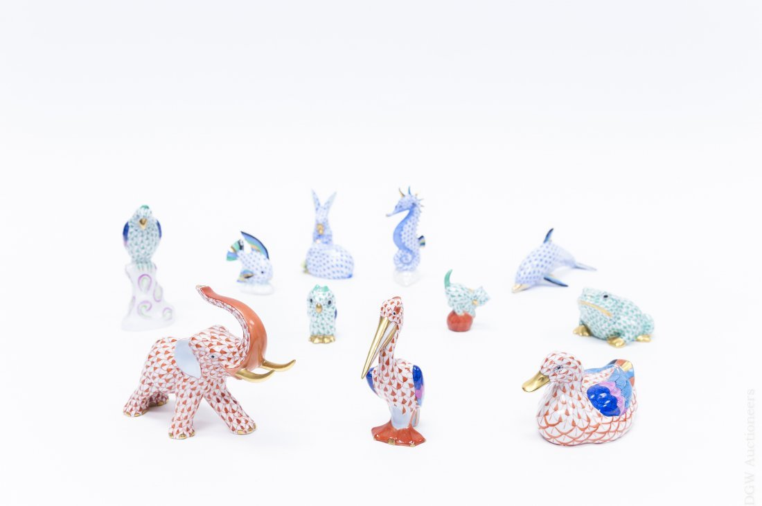 Group of (11) Herend Porcelain Animal Figures.