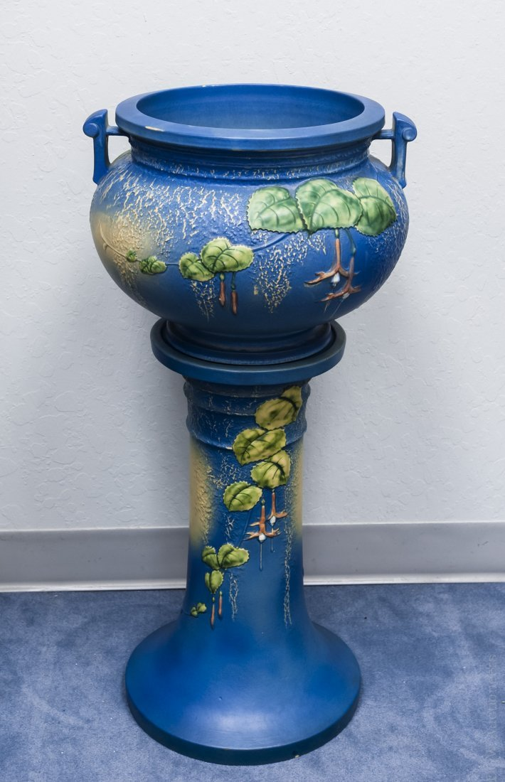 Roseville 2-handled Jardiniere on Stand.