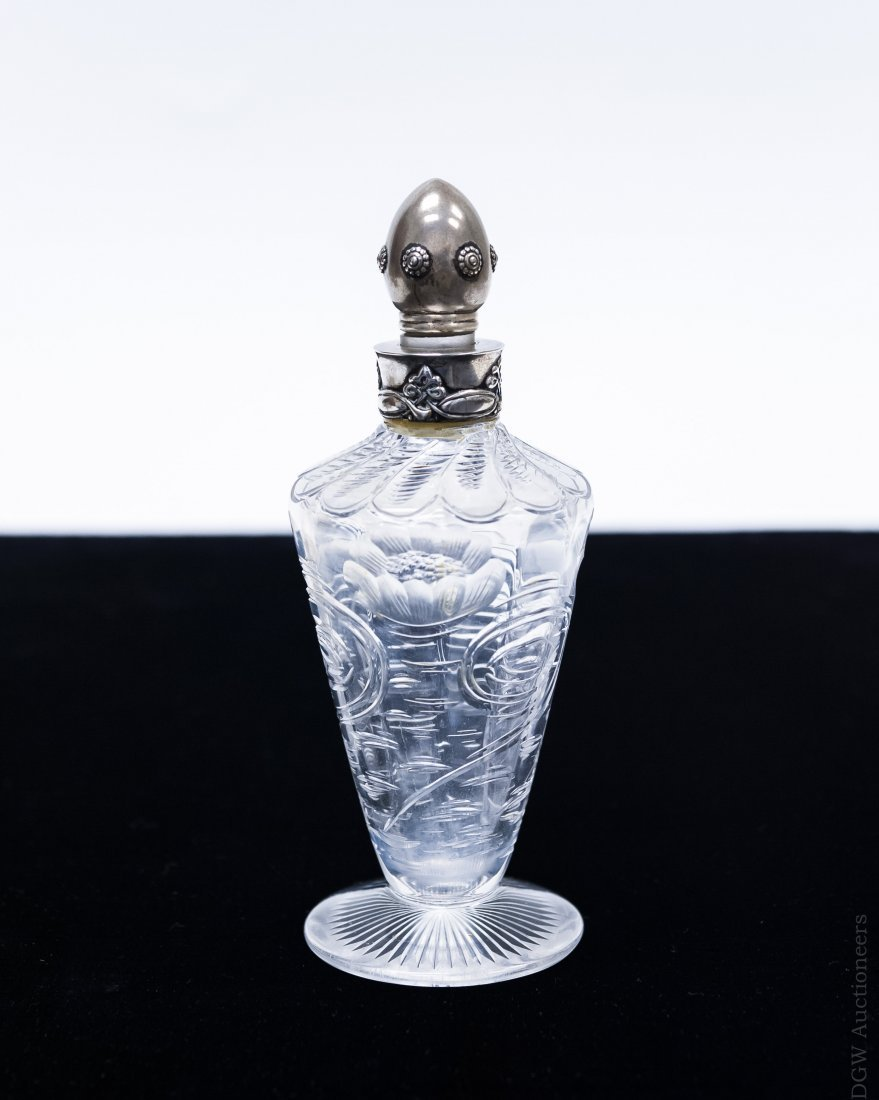 Tiffany & Co. Sterling and Glass Perfume Bottle.