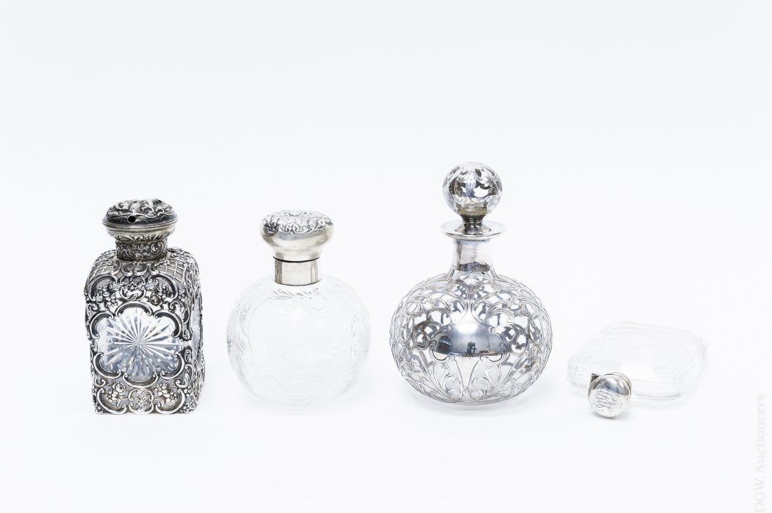 (4) Sterling and Glass Large Perfume Bottles.